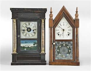 Two Shelf Clocks including a Forestville steeple clock
