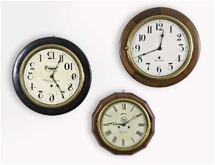 Three American spring driven wall clocks