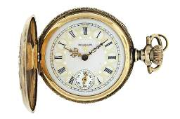 A lady's gold 0 size Elgin pocket watch with chain