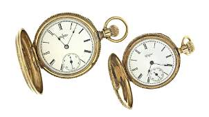 Lot of two Elgin gold hunting case pocket watches