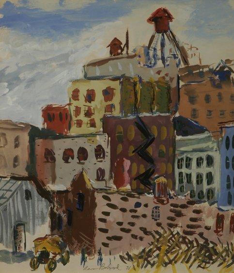 115: AARON BOHROD Cityscape Watercolor 1931