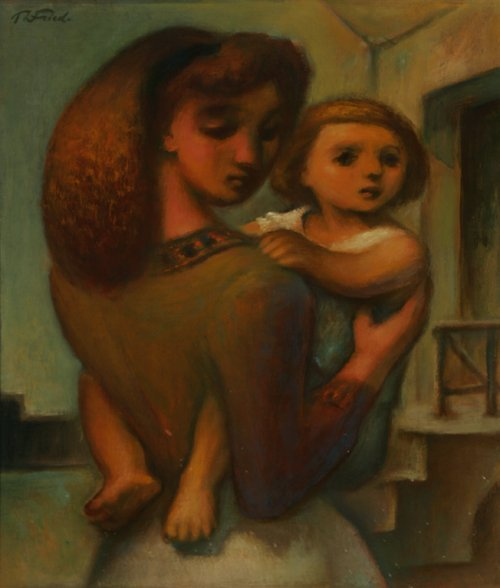 116: THEODORE FRIED Mother & Son Oil