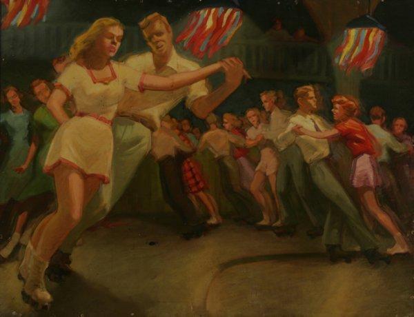 124: AMERICAN SCHOOL Mid-Century Night Roller Skating O