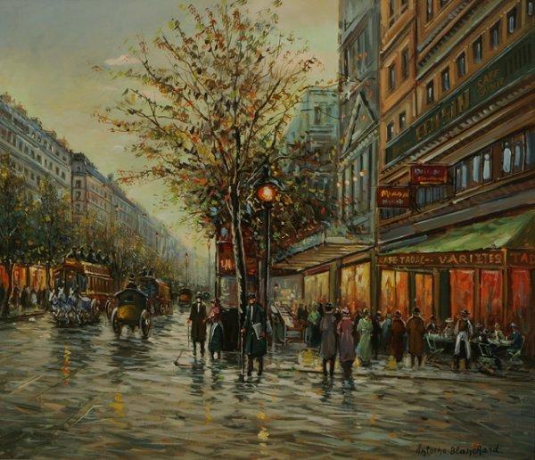 203: ANTOINE BLANCHARD Street Scene Oil