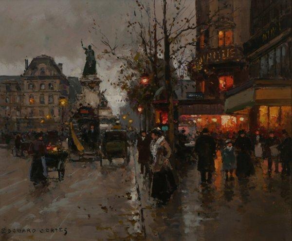210: EDOUARD CORTES Parisian Street Scene