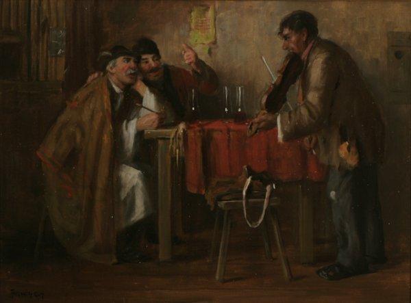 211: GEORGE HORVATH Tavern Scene Oil