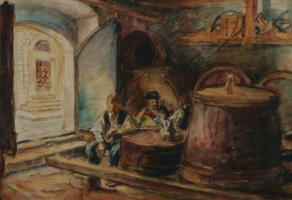 219: EDUARD VON GRUTZNER Tavern Watercolor