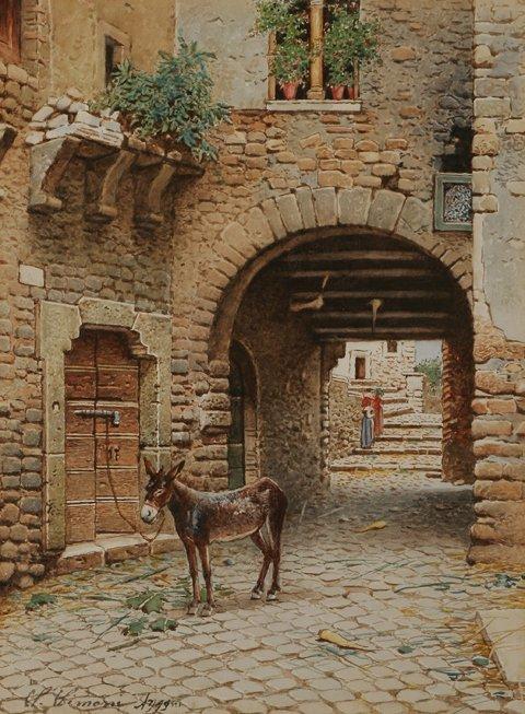 223: SCIPIONE SIMONI Mule Courtyard Watercolor