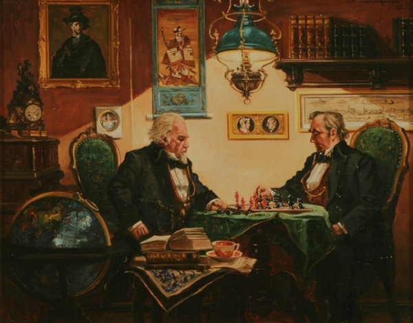301: CURT BRUCKNER The Chess Players Oil Painting