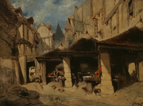 305: JULES NOEL Marketplace 19th C. Painting