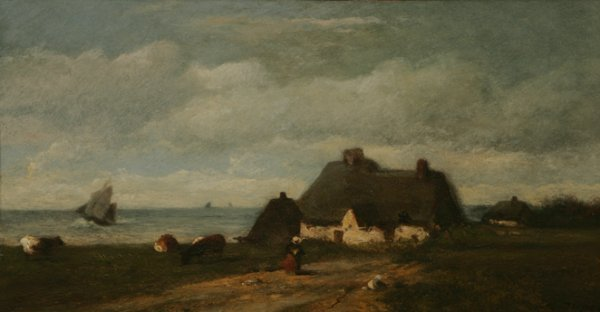 306: JULES DUPRE Cottage 19th C. Oil Painting