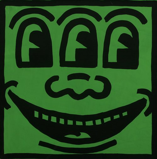 438: KEITH HARING Green Happy Face Painting