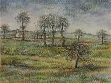 450 PAUL EMILE PISSARRO Orchard Pastel Painting