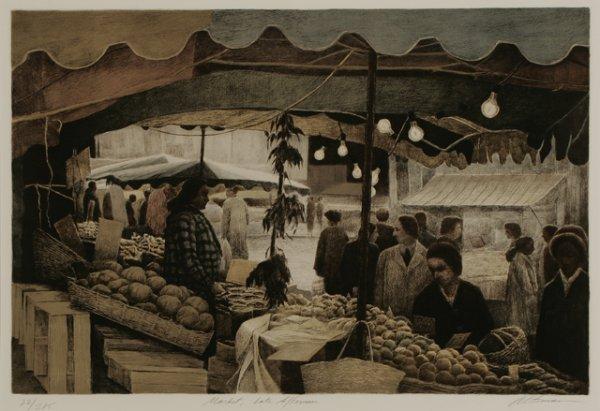 2: HAROLD ALTMAN Market Lithograph