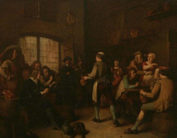 3: BENJAMIN FICHEL Tavern Scene 1859 Oil