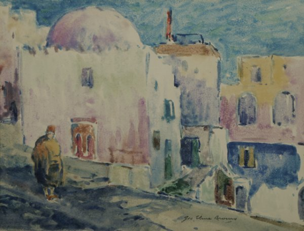 5: GEORGE BROWNE Mosque in Tangiers Watercolor