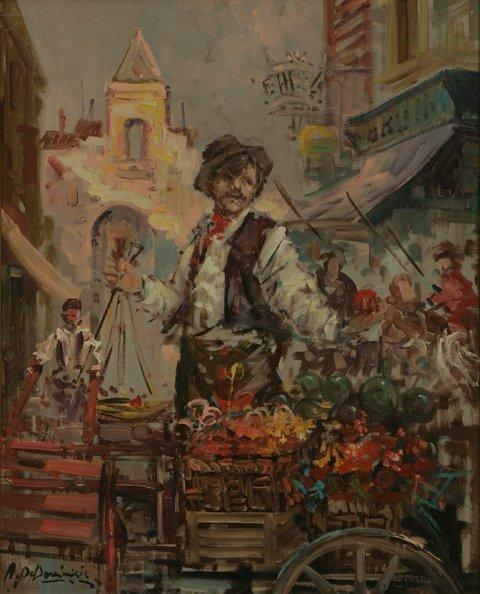 17: ACHILLE de DOMINICIS Flower Seller Oil Painting