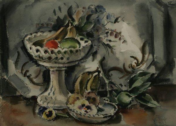 21: JAMES COUPER WRIGHT Still Life 1947  Watercolor