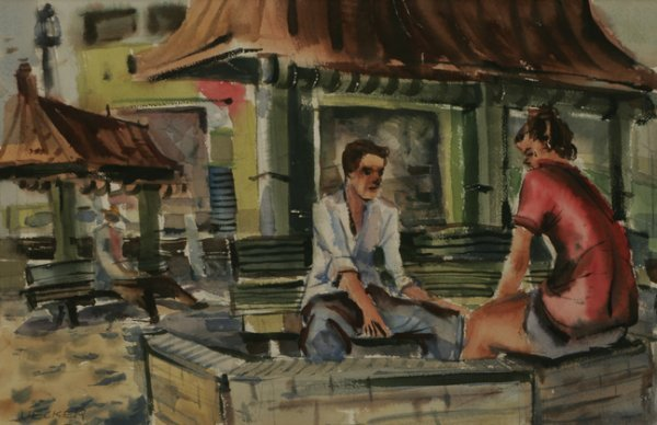 23: ROBERT UECKER Teenagers at Venice Beach Watercolor