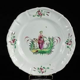 Les Islettes France Large rare circular dish decorated