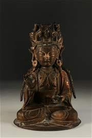 Kwanin Buddha in gilded bronze, Ming period. 17th