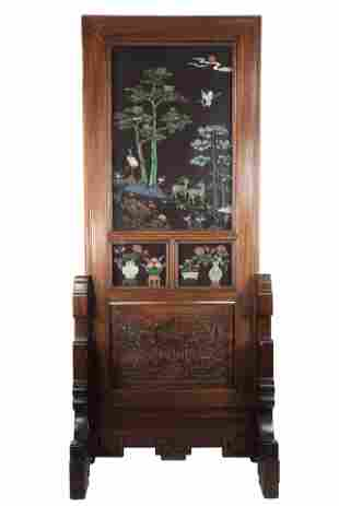 China carved wooden screen with inlays of hard stones