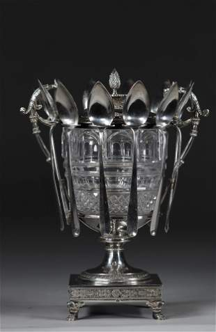 Empire period silver jam and crystal