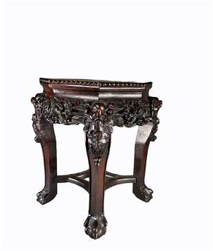 Iron wood saddle with marble top, late 19th century