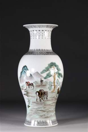 China vase decorated with horses republic period