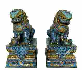 EXCEPTIONAL PAIR OF LARGE CHINESE BUDDHIST LIONS IN