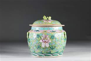 China covered porcelain terrine decorated with flowers