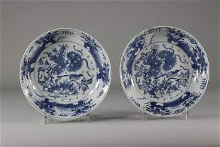 China pair of blanc bleu porcelain strawberry skimmers