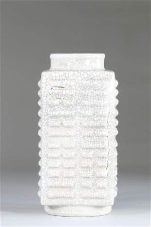 Cong-shaped porcelain vase with gu type crackle glaze,