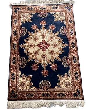 Kashan souf silk carpet with silver and gold threads