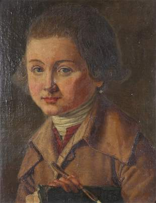 """Oil on mounted canvas """"portrait of a young boy"""" 18 /"""