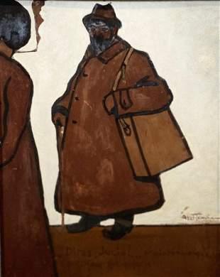 """Louis ABEL-TRUCHET (1857-1918) Oil on cardboard """"street"""