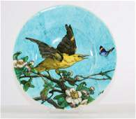 THEODOR DECK (1823-1891) dish decorated with an oriole