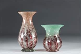 Vases set of 2 Opaline bursts of color