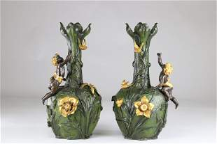Pair of Art Nouveau vases with floral decoration and