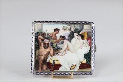 "Elegant silver and enamel box ""erotic scene"" circa 1900"