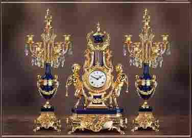 "Lapis Lazuli Cry. 26"" Candelabra & 24"" Clock - Bespoke"