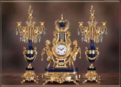 New Lapis Lazuli Girandole Candelabra, Clock - Bespoke