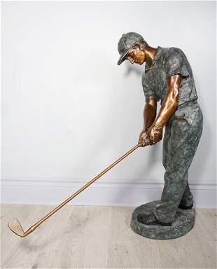 Golfer Bronze Statue
