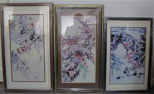 Three Chinese Watercolor Prints