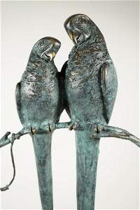 Cesaro Signed Parrots Bronze Statue