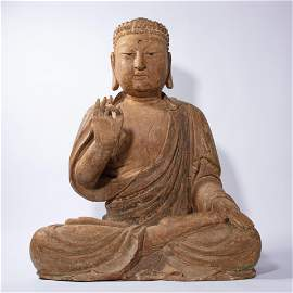 CHINESE  WOOD CARVING BUDDHA STATUE