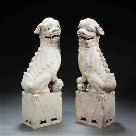 A PAIR OF  CHINESE PORCELAIN LIONS
