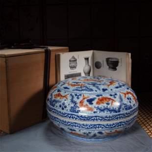 CHINESE FAMILLE ROSE FISH PATTERN LARGE INCENSE BOX,