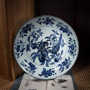 CHINESE BLUE AND WHITE PARROT LARGE PLATE,  MING
