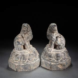 A PAIR OF CHINESE STONE LIONS, TANG DYNASTY